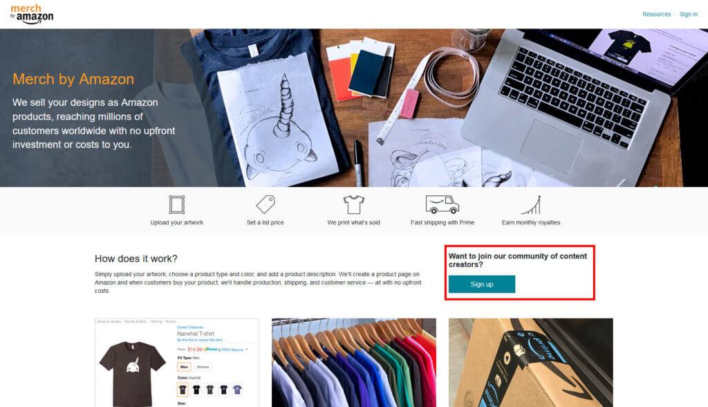 Merch by Amazon Landing Page